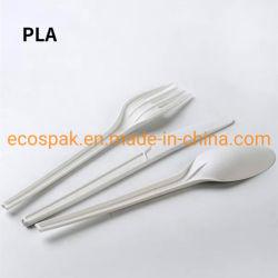 """6 """"قابل للتفسّخ حيويّا مستهلكة سكينة, شوكة وملعقة [كرن سترش] يغلّف أداة مائدة قابل للانحلال محدّد [بلا] أداة مائدة [كبلا] إرتفاع - درجة حرارة مقاومة"""