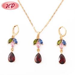 Fashion 18K banhado a ouro CZ Crystal jóias conjuntos de corrente para as mulheres