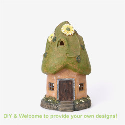 Quanzhou Factory Outlet Polyresin FairyかGnome House Solar Lightの庭Decoration