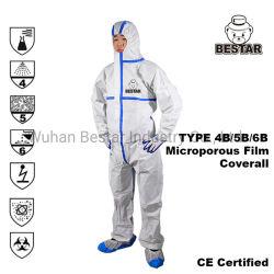 Eliminación de asbesto en el hospital médico Spraying Tipo 4/5/6 sellado térmico Mono de cinta de costuras microporosas