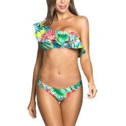 Ladie's Sexy One-Shoulder volante extraíble con taza Bikini bandeau