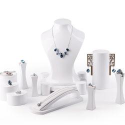 De in het groot Reeks van de Vertoning van de Juwelen van de Lak van de Showcase van de Houder van de Tribune van de Armband van de Ring van de Halsband van de Hars van de Manier van de Fabriek Kleinhandels Witte Glanzende