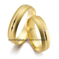 Joyería Unisex del Anillo de Bodas del Oro del Corte del Diamante