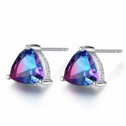 Triangle incendie Rainbow Mystic Topaz 925 Sterling Silver femmes Stud Earrings