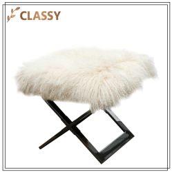 Crema moderno franela de lana Base de Acero Silla Taburete Plegable