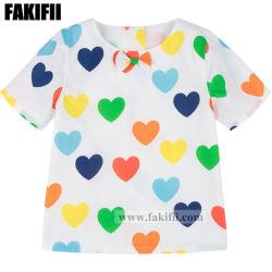 Marque de commerce de gros pour nourrisson/vêtements bébé fille Imprimer Haut de coeur Kid Shirt