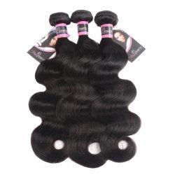 Productos para el cabello de seda brillan cuerpo brasileño cierre de la onda con el Cabello Remy trama tejer los paquetes de 3 paquetes de pelo humano con cierre