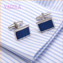 VAGULA Fashion en cuivre plaqué rhodium Cufflink ronde de peinture bleue