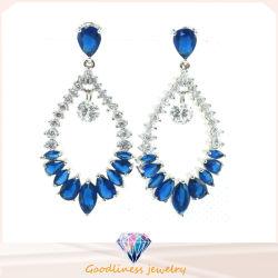 La joyería de moda de alta calidad chapado en rodio Azul Gota de agua de cristal Pendientes joyería de plata (E6404)