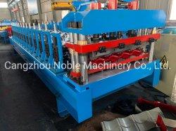 La marca noble Taiwán calidad precio de fábrica de acero de color galvanizados Panel techado de baldosas esmaltadas que hace la máquina con la marca Siemens controlador PLC