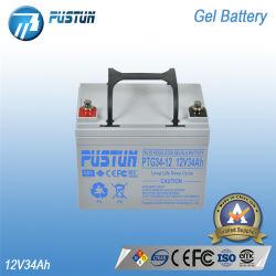Pustun 12V34Ah recargable, batería de gel de plomo ácido para el sistema de Solor