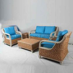 Патио с садом современной кушеткой снаружи диван, плетеной мебели