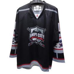 Het Hockey van New Jersey Om het even welk Embleem Gesublimeerd Zwart Hockey Jersey van de Douane