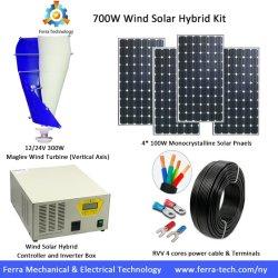 700W de Zonne Hybride Uitrusting van de wind: 300W de spiraalvormige Turbogenerator van de Wind van het Type + Zonnepaneel 2*200W + 1kw de Geïntegreerdel Doos van het Controlemechanisme en van de Omschakelaar