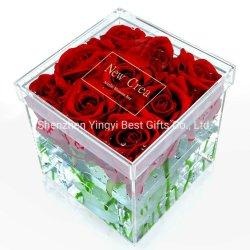 直接の工場正方形の形のふたが付いているアクリルの花ボックス