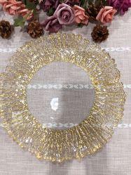 Cargador de vidrio Paibee Flor de sol las placas de cristal el plato de home Restaurante plato de la boda de la placa