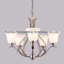 Jlc-6020 Níquel escovado 5 lustre de luz com gravados e semeados tons de vidro para sala de jantar