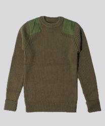 Кашемир смешанных вязания и соткана патч круглой горловины свитер мужской одежды
