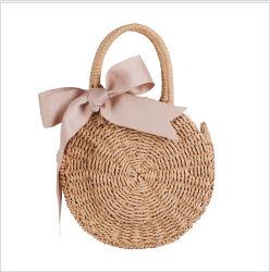 Cercle de la mode sac à main à la main dela plage de paille en rotin mini rond en osiersac fourre-tout décontracté