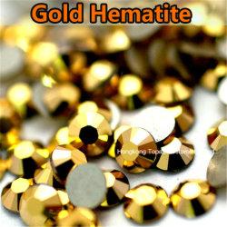 La moda 4no grado Hot Fix Crystal Rhinestones vestido de baile (FB-SS20 gold hematita)