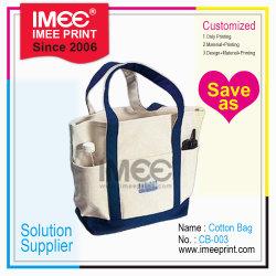 Sacchetto di Tote riciclato riutilizzabile amichevole della tela di canapa del tessuto di cotone di Eco del supermercato su ordinazione di modo di marchio di Imee