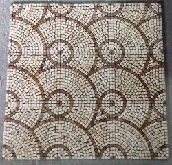 Mosaik-Fußboden-Fliese, rundes Muster-Marmor-Stein-Mosaik