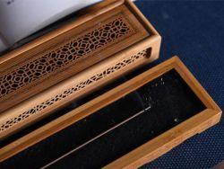 Caixão de madeira incrustada de latão estilo compartimento de arrumação