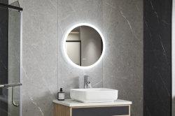 Освещение ресторане отеля безрамные раунда нажмите переключатель Индикатор с подсветкой зеркала в ванной комнате без рамы на стену