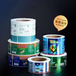 カスタマイズ印刷透明粘着ラベル包装粘着性印刷透明 ペーパー PVC PET 樹脂ビニール包装ステッカー熱ラベルロール 印刷済み