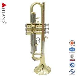 케이스를 가진 3 색 Bb 트럼펫 (ATR4506GT) 금 래커