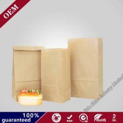 食品等級の印刷された正方形の最下のパン屋のパン包装袋のブラウングリースを弾くクラフト紙