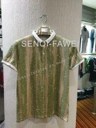 Splatter-Druck-Polo-Hemd, T-Shirt in der Mann-Sport-Abnützung kleidet Fw-8650
