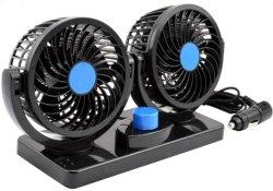 Double tête ventilateur voiture 12V/24V, voiture électrique du ventilateur de refroidissement avec double tête réglable de 360 degrés qui se branche sur allume cigare/faible bruit du ventilateur de véhicule automobile