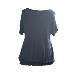 قميص مصمت للنساء للمدخنين وقميص قطرة على الكتف قصير الأكمام غير رسمية الملابس