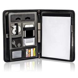 A4 Luxo Personalizado Padfolio PU Compêndio Folder Leather Folio