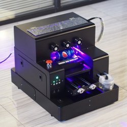ماكينة طباعة بنفسجية رقمية بمقاس A3 تعمل بزجاجات وماسحة تعمل بالأشعة فوق البنفسجية طباعة بنفسجية بأسطوانة زجاجية خشبية