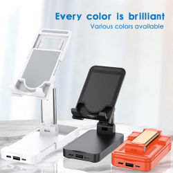 Teléfono móvil de aluminio plegable Titular con la alimentación alimentación Banco 2in1 Dual USB Soporte Tablet