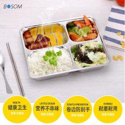 Bandeja de utensílios de aço inoxidável 201/304/Placa alimentar/placa de serviço de restaurante/cantina/sala de jantar/jantar com tampa ou sem tampa