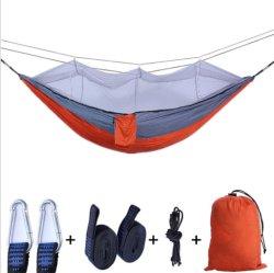 屋外蚊帳スーパーライトナイロンダブルアンチロールキャンプハンモック