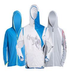 De Bescherming die van de zon de Anti UVLaag van het Zonnescherm van de Bovenkledij van de Kleding Hoodie van het Overhemd van het T-stuk van de Visserij van het Jasje van de Koker van de Mensen van de Sportkleding Lange Lichtgewicht Snelle Drogende In te ademen kleden