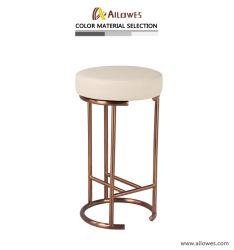 La relojería y joyería Shop PU Vinilo Asiento redondo oro rosa de la barra de acero inoxidable taburete silla cómoda
