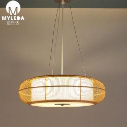 Декоративные современной круглые деревянные люстра с бамбуковой Lampshade