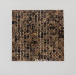 Mosaico di marmo quadrato scuro di Emperador della stanza da bagno della stanza di seduta della decorazione della parete dell'ingresso dell'hotel