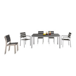テラスアルミニウム表の一定の余暇の多木製のダイニングテーブルおよび椅子