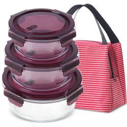 Insieme di vetro rotondo riscaldabile del contenitore di alimento della casella di pranzo