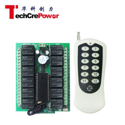 Kriechgangsteuerung/Selbstverriegelung/verriegelte 12V 12channel RF 433MHz /315MHz Funkrelais-Fernbedienung Schalter + 12-Schlüssel-Messumformer