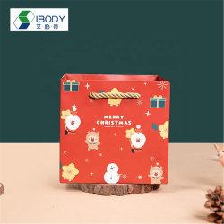 Sacos de presentes de Natal personalizado de recreio saco de papel Kraft com pega com seu próprio logotipo branco Sacola de Compras de saco de papel grosso da China