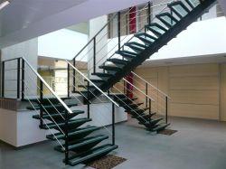 Corrimão de escada de designs com escada de vidro corrimão de vidro/Escada de aço inoxidável com passo de madeira maciça