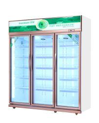 Un supermarché de refroidissement du compresseur frigo trois portes armoire d'affichage