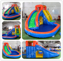 Federnd Castle Inflatable, Inflatable Slide mit CER, federnd Slide mit Water Pool B4115